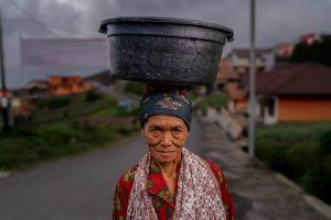Woman doing groceries Indonesia