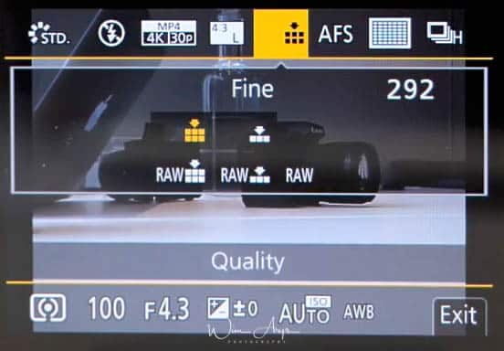 G95 Q menu quality settings