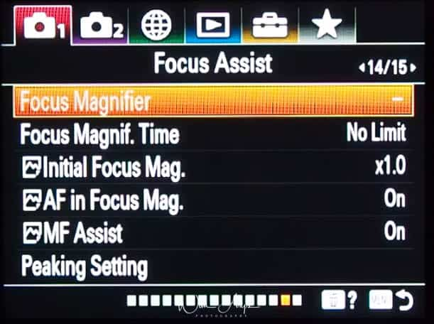 red camera icon page 14 Focus assist settings