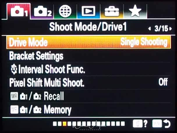 red camera icon page 1 (Shoot Mode/Drive 1)