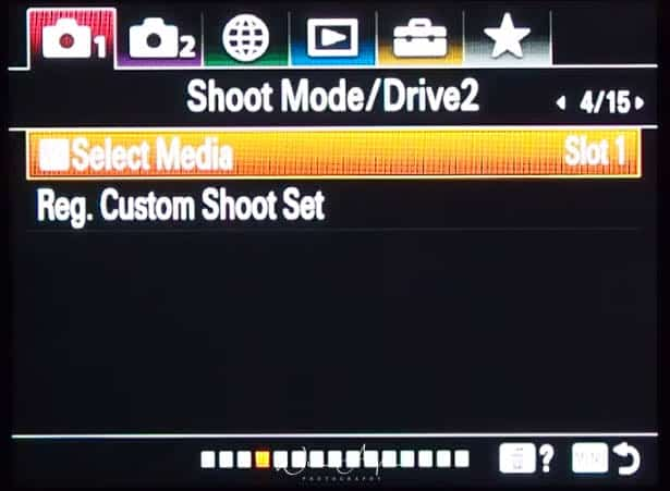 red camera icon page 4 (Shoot Mode/Drive 2)