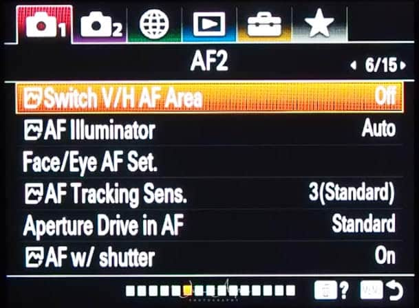 red camera icon page 6 (autofocus settings page 2)