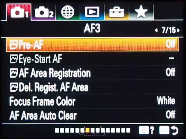 red camera icon page 7 (autofocus settings page 3)