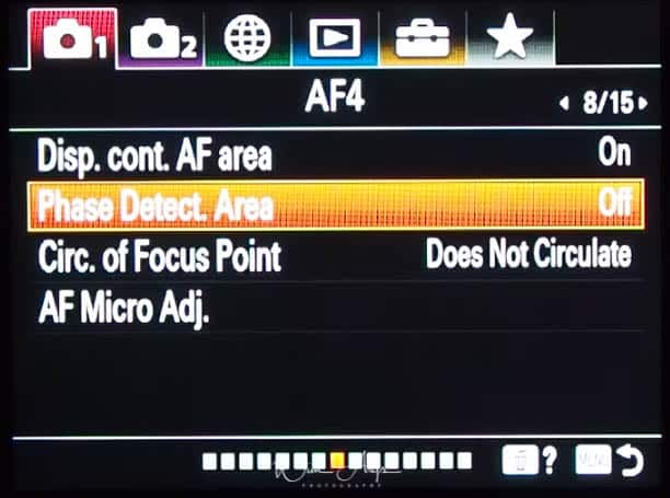 red camera icon page 8 (autofocus settings page 4)