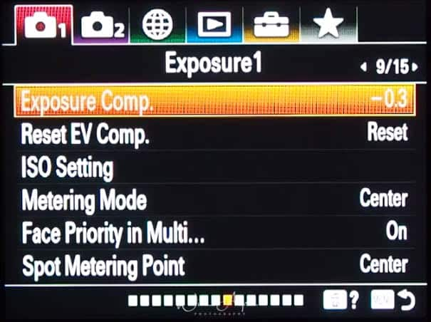 red camera icon page 9 (Exposure settings page 1)