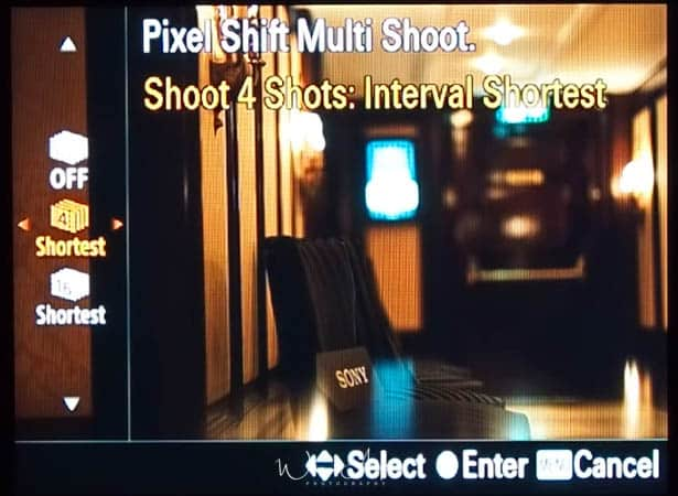 pixel shift multi shoot settings