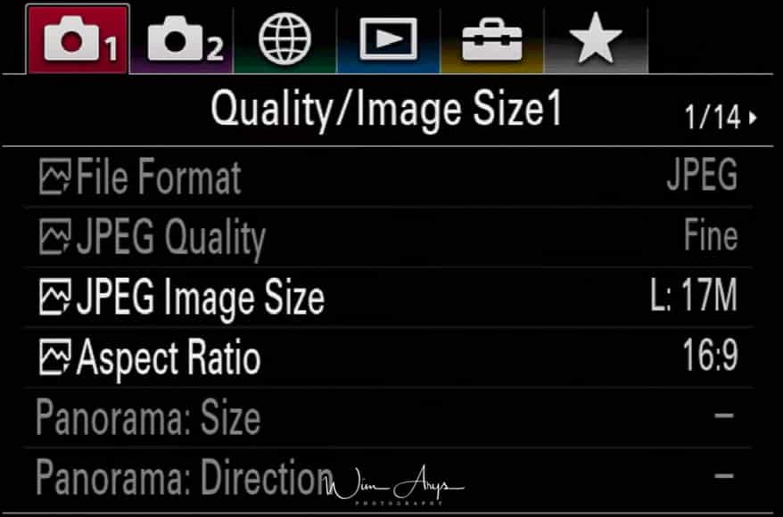 camera settings page 1 of 14
