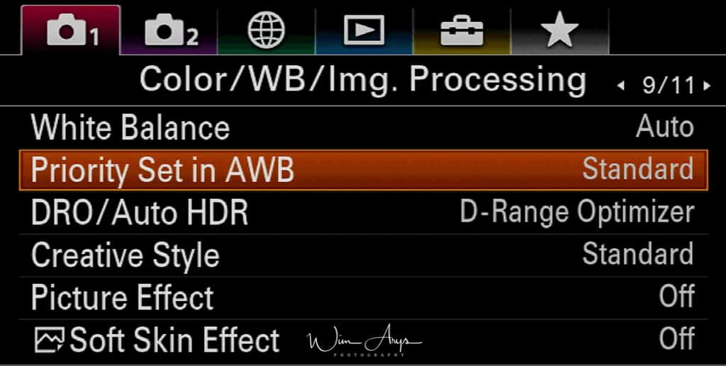 Color, white balance and image processing settings