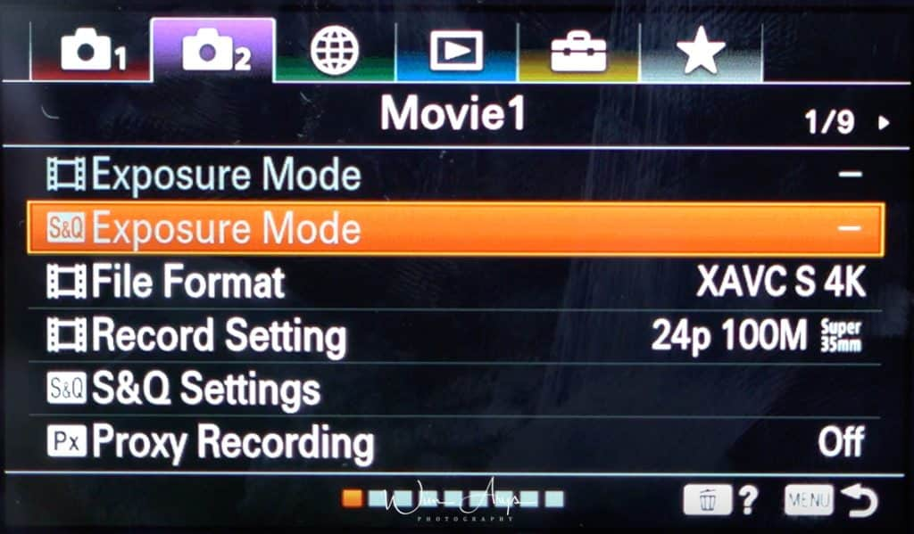 Sony A6100 movie settings page 1