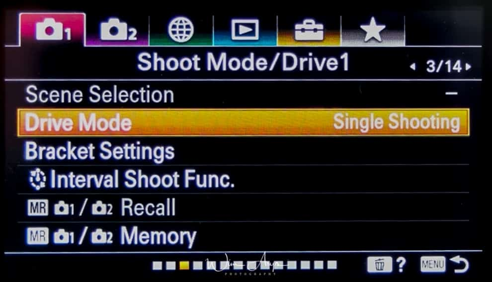 Shoot mode and drive settings page 1