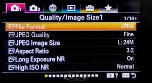 Quality and Image size settings page 1