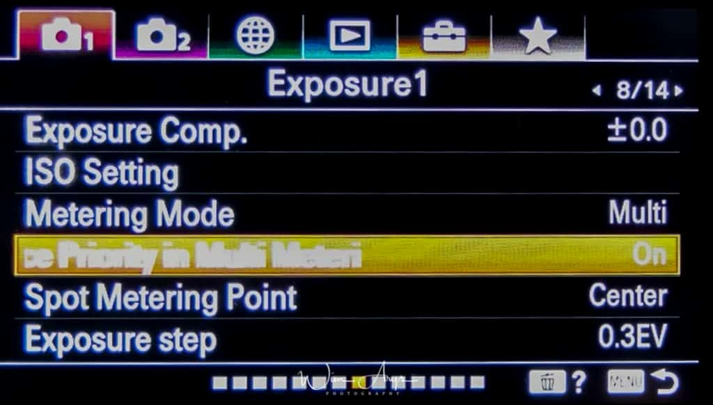 Exposure settings page 1