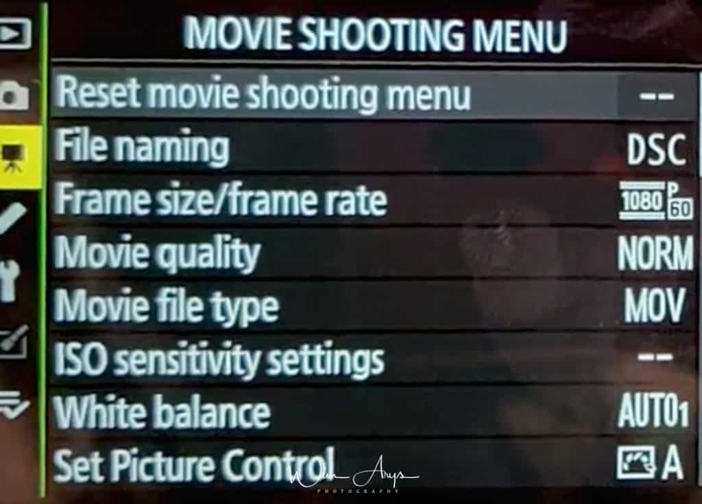 Movie shooting menu