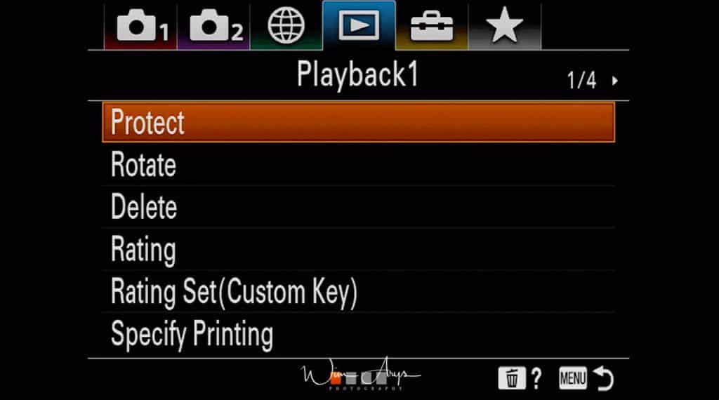 Playback settings page 1