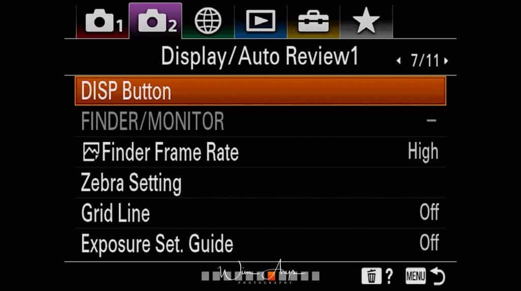 Display and Auto review Settings page 1