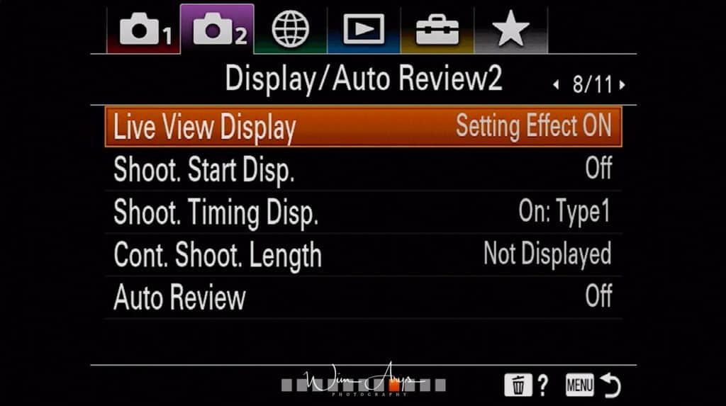 Display and Auto Review settings page 2