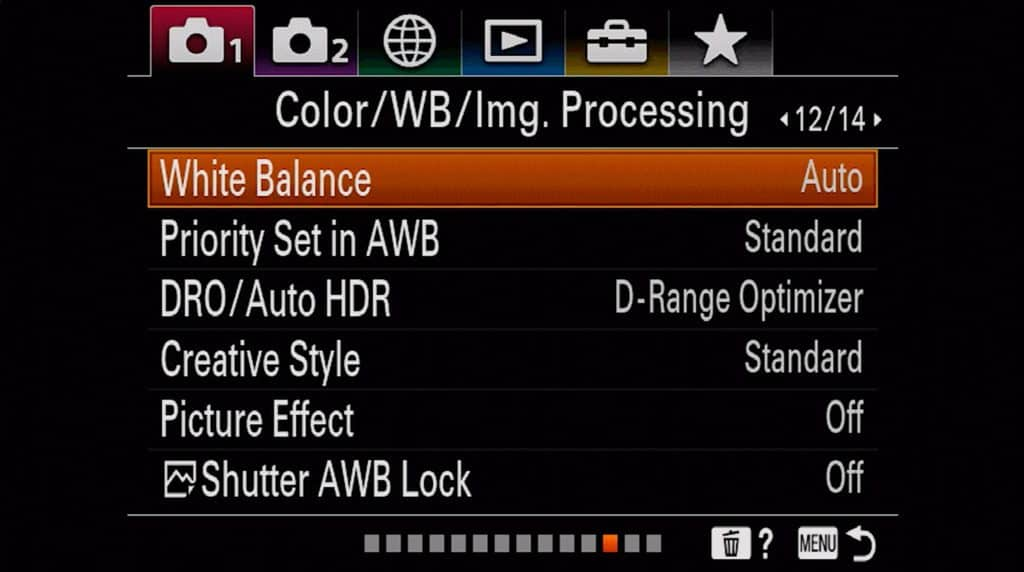 Color, White Balance and Image processing settings page 1