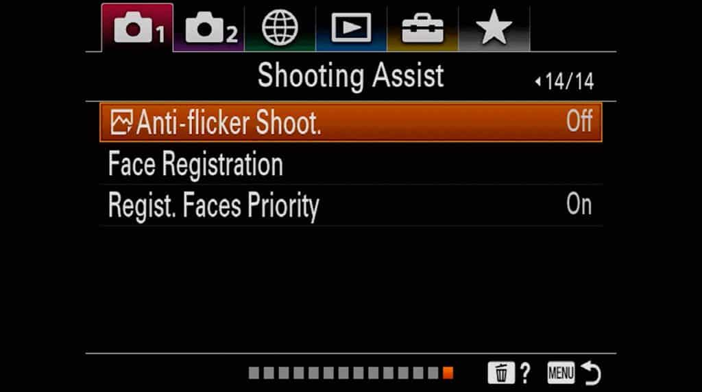 Face registration and shoot assist settings