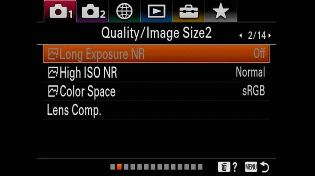 Quality settings and image size settings page 2