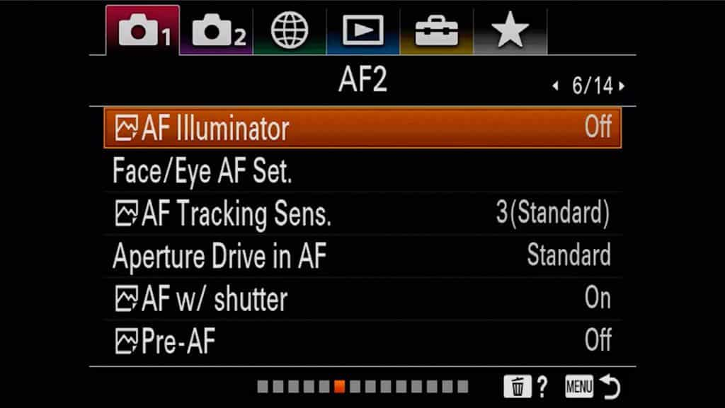 Autofocus settings page 2