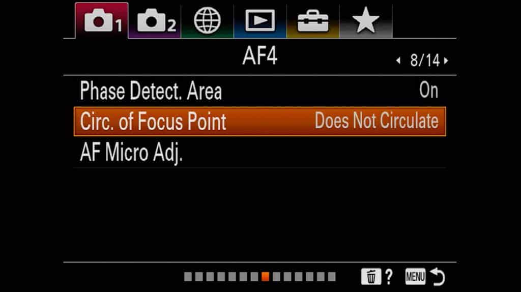 Autofocus settings page 4