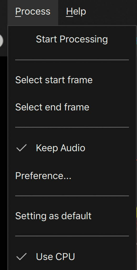 Select start and end frame in menu