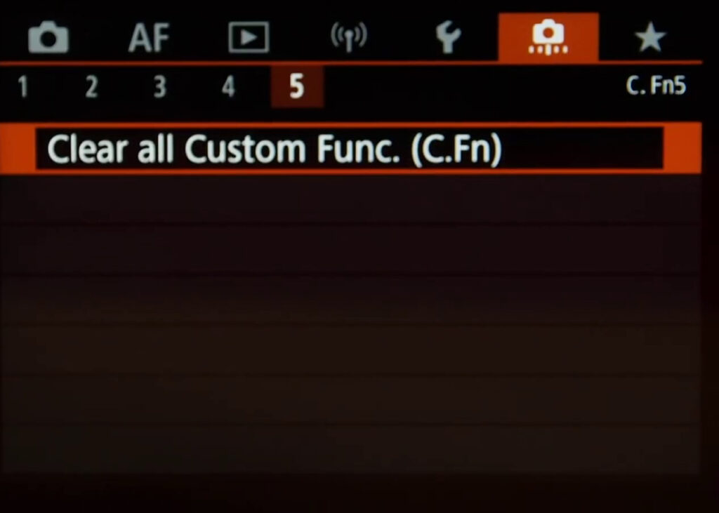 Custom Function Menu Page 5