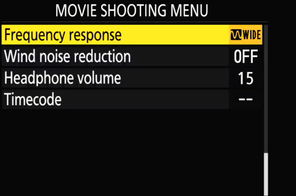 Nikon Z7 Ii Movie Shooing Menu Page 4