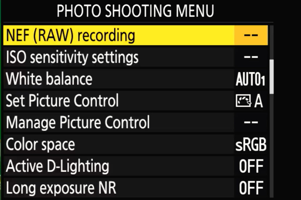 Z6 Ii  photo Shooting Menu Page 2