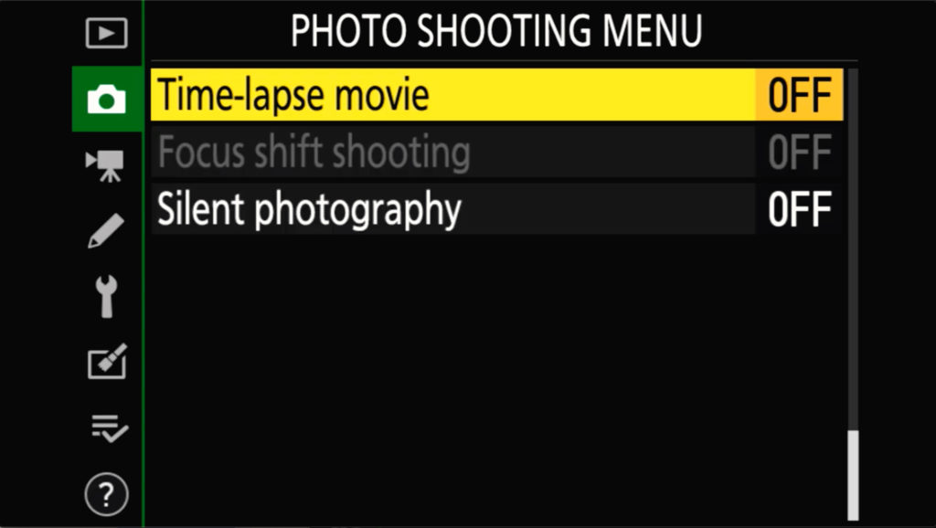 Z6 Ii Photo Shooting Menu Page 5