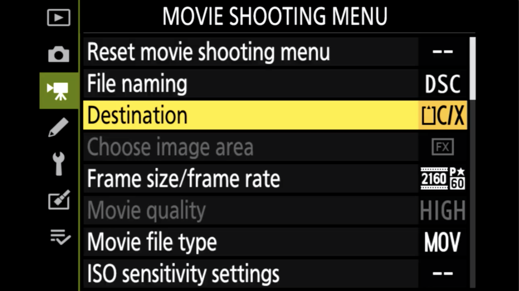 Z7 Ii Movie Shooting Menu Page 1